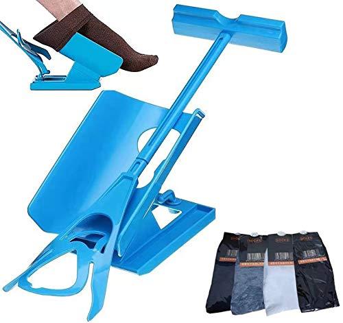 Sock Slider, Sock Aid Easy on Easy off, Ayudas para poner los calcetines Kit Deslizante Helper Sock,Aid Kit del calcetín para las señoras,hombres,ancianos,discapacitados(1Dispositivo + 2 Calcetines) ⭐