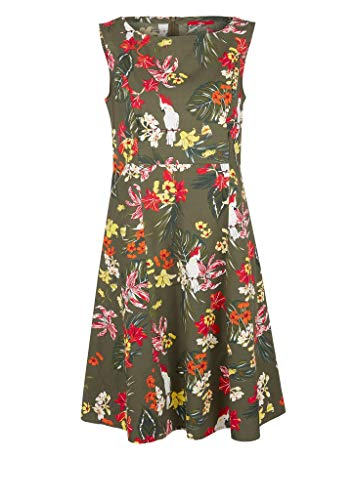s.Oliver Damen Kleid mit Allovermuster khaki/oliv AOP 36