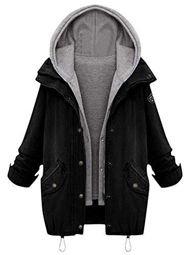 Milumia Damen Kapuzenjacke mit Kordelzug Boyfriend-Trends Jean Swish Taschen Zweiteilige Jacke - schwarz - 48 DE XXX-Large