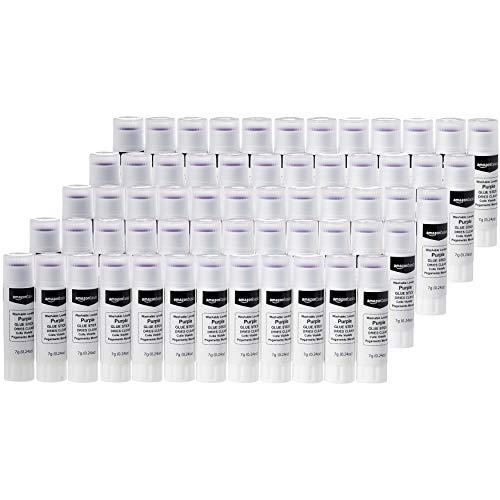 Amazon Basics Purple Washable School Glue Sticks, Dries Clear, 0.24-oz Stick,60-Pack