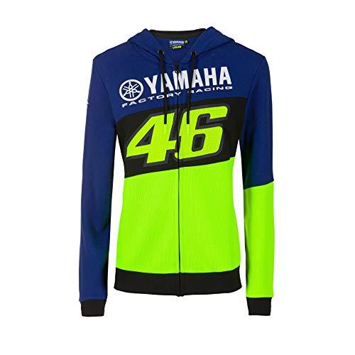 Valentino Rossi Sweat à Capuche Zip Femme VR46 Yamaha Factory M1 Racing Officiel MotoGP Bleu - S