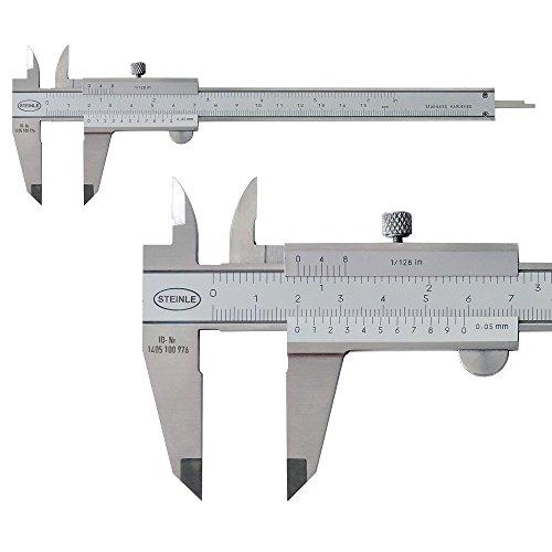 STEINLE 1102 Taschen Messschieber 150 mm mit Feststellschraube, Ablesung: 0,05 mm DIN862 - inkl. Gewindetabelle