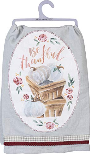 Primitives by Kathy Watercolor Art-Inspired Dish Towel, 28 x 28-Inch, Pumpkins - Be Thankful