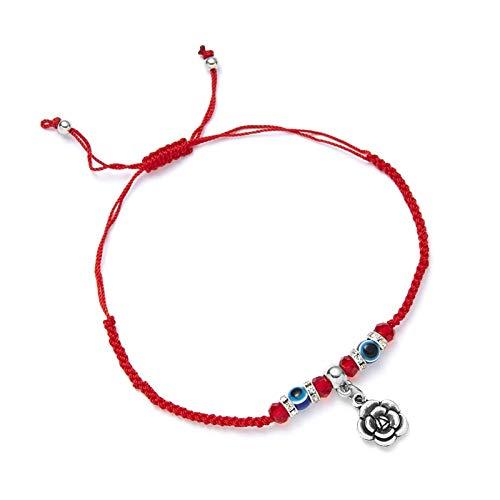 WUCHENG Línea de Cadena roja Pulsera Colgante Charm Azul para Mujeres Hombres Mano Hecho a Mano Joyas de Amistad Regalos Pulseras Mujer (Couleur de Métal : F)