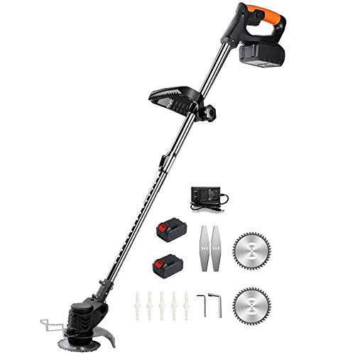 Edger String Trimmer Cordless Battery Powered Weed Eater Electric Weed Wacker with 24V Lithium-ion Batteries and 6in Saw Blade for Outdoor Yard, Battery Powered Weed Eater,Black