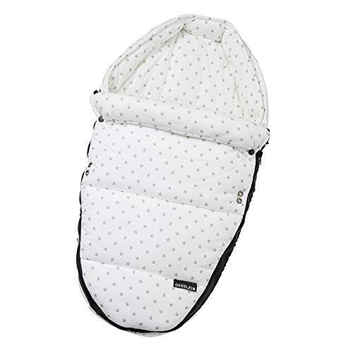 Gesslein Baby-Nestchen, 145 Sterne grau meliert/weiß, warmes Kuschelnest/Fußsack für Neugeborene und Säuglinge, für Kinderwagen Wanne, Babyschale, Bettchen und Wiege, inkl. Gurtschlitze