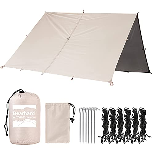 Bearhard Wasserdicht Camping Tarp Zeltplanen 3 x 3,6 m, Ultraleicht Multifunktionales UV Schutz Sonnensegel Zelt, ideal für Camping, Wandern, Picknick, Outdoor Aktivitäten