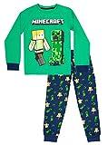 Minecraft - Minecraft Clothing - Pijama Minecraft para niños - Pijama 100% algodón para niños - Conjunto de pijama - Regalos Minecraft - Verde y Azul