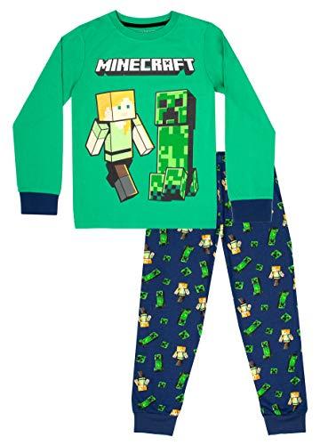 Minecraft - Minecraft Kleidung – Jungen Minecraft Schlafanzug – 100% Baumwolle Jungen Schlafanzug – Pyjama-Set – Minecraft Geschenke – Grün & Blau Gr. 146, Marineblau, Grün