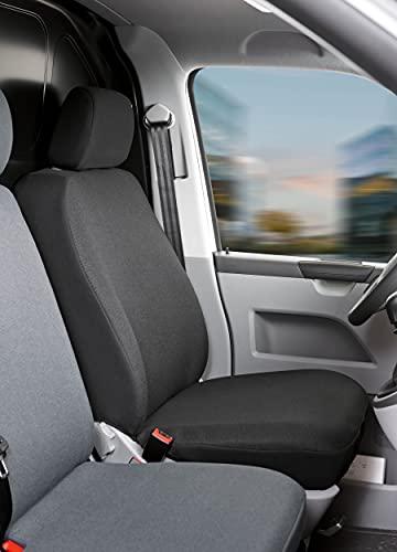 Walser 10463 Autoschonbezug Transporter Passform, Stoff Sitzbezug anthrazit kompatibel mit VW T5, Einzelsitz vorne