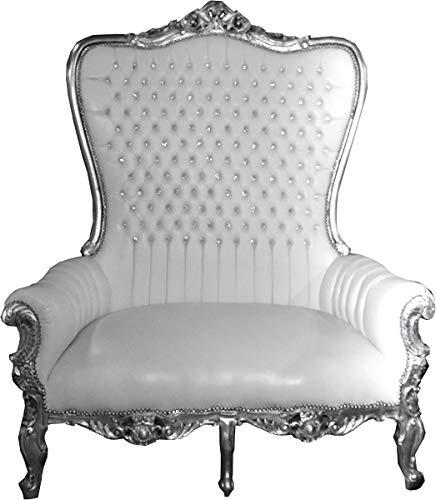 Casa Padrino Sillón de Trono Doble Barroco Majestic White/Silver con Diamantes de imitación Bling Bling - Sillón Gigante - Silla de Trono Tron Sofa