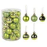 PPFC 34pcs Bolas de Navidad decoración de árbol del ahorcado 4cm Ornamento de la Navidad Decoración for el hogar Navidad de la Navidad de la Bola de Regalos 1111 (Color : Fluorescent Yellow)