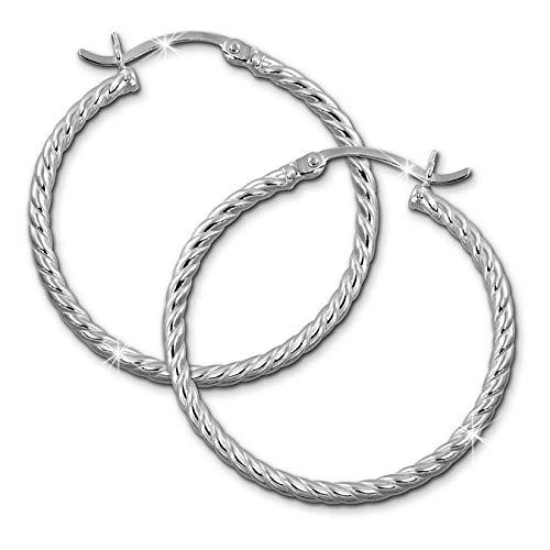 SilberDream Ohrringe 30mm Damen-Schmuck 925er Silber Creolen gedreht SDO0063J