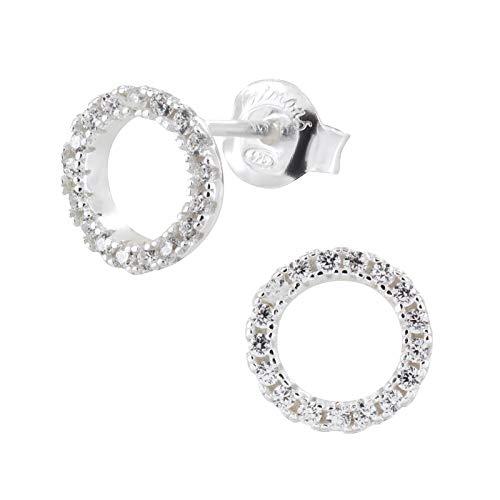 laimons–Pendientes para mujer joyería femenina circular brillo circonita plata de ley 925