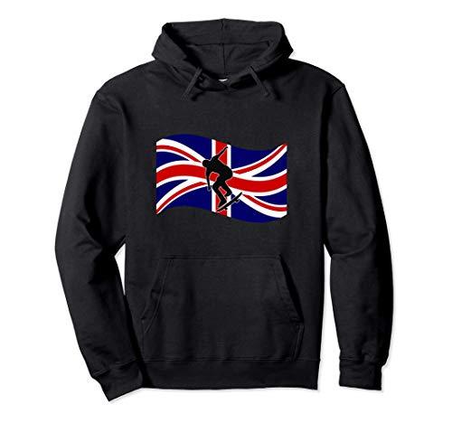 Gráfico de skate con la bandera del Reino Unido / Orgullo Sudadera con Capucha