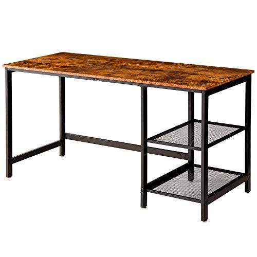IBUYKE Escritorio para ordenador de 140 x 60 x 75,5 cm, con 2 estantes, mesa de trabajo para oficina, sala de estar, escritorio de estudio, mesa industrial para portátil marrón, negro TMJ015H