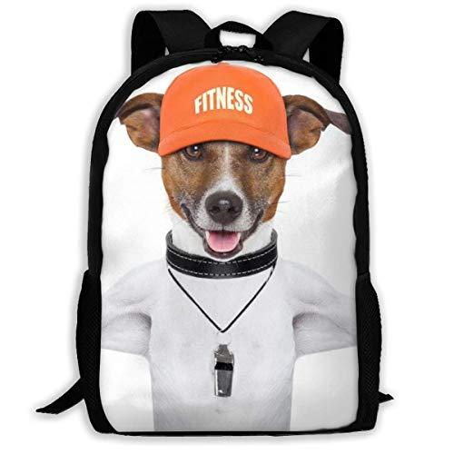 XCNGG Gewichtheben Hund gedruckt Reiserucksack, wasserdichte leichte Laptoptasche haben Zwei Seitentaschen