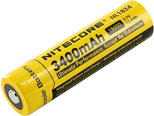 NITECORE NL189/NL1834 3400mAh Protected Rechargeable Button Top 3.7V battery
