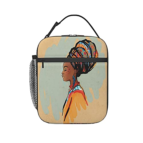 Insulated Lunch Bag Reusable Tote Bag lunch box for men, Watercolor Profile Portrait Of Native Woman With Ethnic Hairdo And Earrings Theme Theme women cooler bag
