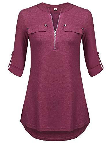 Blusen Damen Winter Elegant Oberteile 3/4 Ärmel Tunika Mode Longshirt (A-weinrot,M)