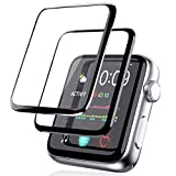 [2 Pack] Screen Protector for Apple Watch 38mm Series 3/2/1 Full Coverage Bubble-Free Scratch-resistant Anti-Fingerprint HD Screen Transparent Protector-Black
