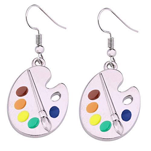 Artist Paint Brush Earrings Paint Palette Charm Earrings Colorful Painter Jewelry Artist Gift Art Teacher Gifts (Artist Charm Earrings)
