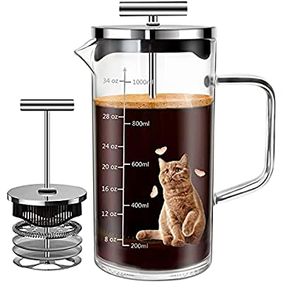 Comfome French Press Coffee Maker 34oz, French Press with 4 Level Filtration System, Heat Resistant Thickened Borosilicate Glass Coffee Press,Easy to Clean and BPA Free