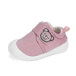 MASOCIO Baby Schuhe Mädchen Lauflernschuhe Babyschuhe Sneaker Glitzern Flach Anti-Rutsch Pink Größe 21 (Hersteller Größe: 17)
