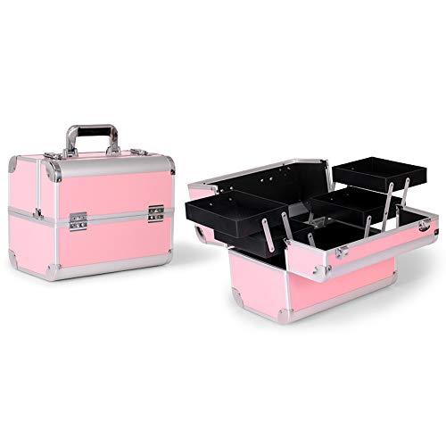 BLWX - Boîte de rangement de bureau de trousse à outils portative de grand sac à cosmétiques professionnel Boîte de rangement cosmétique (Couleur : Rose, edition : B)