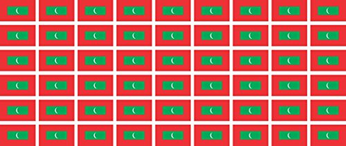 Mini Aufkleber Set - Pack glatt - 20x12mm - Sticker - Malediven - Flagge - Banner - Standarte fürs Auto, Büro, zu Hause & die Schule - 54 Stück