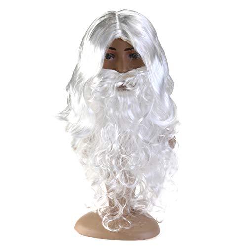 DOITOOL Conjunto de peruca e barba de Papai Noel, barba e peruca, acessório de fantasia de feiticeiro de Natal e Dia das Bruxas para adultos festa de Natal vestido de festa de carnaval cosplay