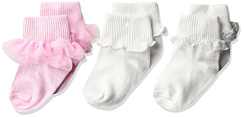 Jefferies Socks Girls' Ruffle/Ripple Edge/lace Baby Socks 3 Pack, Pink/White, Toddler
