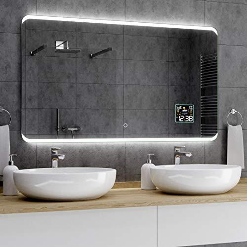 Alasta® Premium Badkamerspiegel met Verlichting - 120x80 cm - Model Módena - Spiegel met Aanraaklichtschakelaar en Weerstation P2