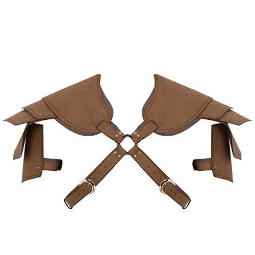 iixpin Herren PU Leder Schulterrüstung Armstulpe Gothic Gladiator Kostüm Soldat Cosplay Schultergurt mit Metall O-Ring Steampunk Kostüm Braun One Size