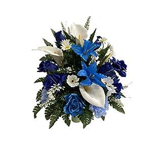 Blu, White Cemetery Flower Arrangement, Headstone Vase Insert, Grave Vase Cone Arrangement , Cone Insert, Tombstone vase Arrangement, Cemetery Flowers CC4220