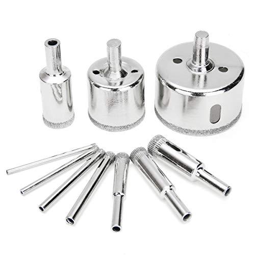 NUJA-Tools, 10pcs / Set 3-50mm diamante recubierto Broca de cristal de mármol del azulejo de cerámica sierra de perforación taladros de perforación for herramientas eléctricas