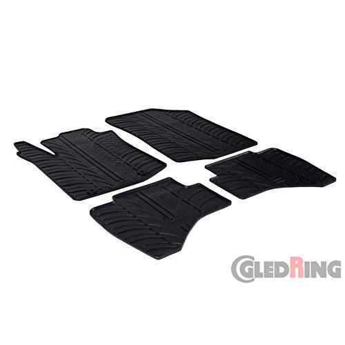 Gledring Set tapis de caoutchouc compatible avec Peugeot 108 & Citroën C1 2014- (T profil 4-pièces + clips de montage)