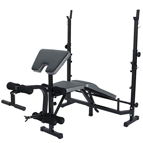 Olympic Weight Bench for Full-Body Workout, Standard Weight Bench, Workout Station Dumbbell Bench Weightlifting With Preacher Curl Leg Developer and Crunch Handle (Black)
