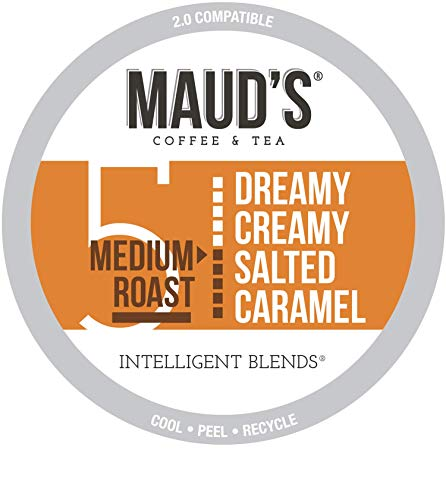 Maud's Salted Caramel Coffee (Dreamy Creamy Caramel), 100ct. Recyclable Single Serve Salted Caramel Flavored Coffee Pods – 100% Arabica Coffee California Roasted, Salted Caramel K Cups Compatible