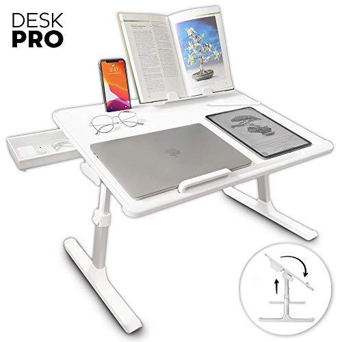 Cooper Desk PRO [XL Adjustable Folding Laptop Desk] - Height & Tilt Angle | Leather Top for Work, Study, Bed | Reading Stand, Drawer (Pearl White)