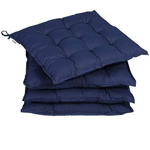 Deuba 4X Cojínes Cozy Azul 41x41cm Almohadones para sillas con Cintas de sujeción Apto para Exterior