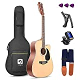 Vangoa 12 String Acoustic Guitar Cutaway, Spruce Top & Mahogany Sides, 41 Inch Full-size, with Beginner Kit, Natural