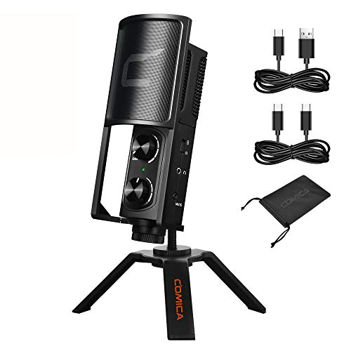 Comica STM-USB Versatile Cardioid Condenser Microphone for Smartphone Computer Laptop, USB/USB C Studio Recording Microphone for Live-Streaming Podcasting Gaming Vocal Online Course