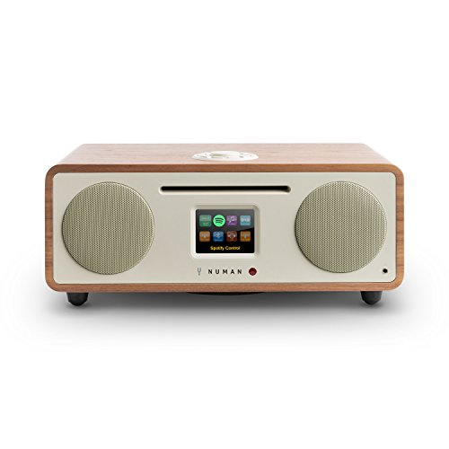 NUMAN Two 2.1, Design Internet Radio, DAB/DAB+ / UKW-Tuner, CD-Player, Spotify Connect, TFT-Display, RDS, Wi-Fi/LAN, Bluetooth, AUX, 2 Breitbandlautsprecher, 30 Watt RMS, walnuss