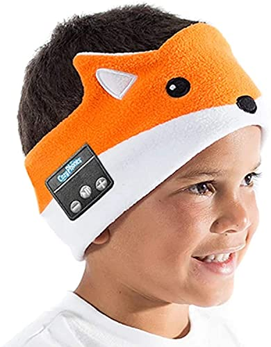 Wireless Kids Headphones in Stretch Soft Headband for Ages 3 and Up - Thin Speakers, Soft, Volume Limiting, Machine Washable, USB Recharging for Travel, School, Home by CozyPhones, Fox