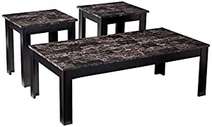 Coaster Home Furnishings 3-Piece Occasional Table Set with Marble-Looking Top, Black
