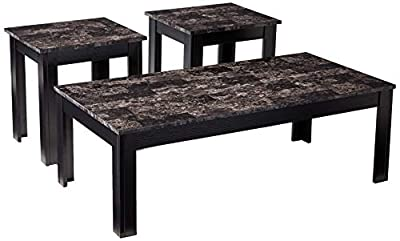 Coaster Home Furnishings 3-Piece Wood Coffee and End Table Set with Faux Marble Top