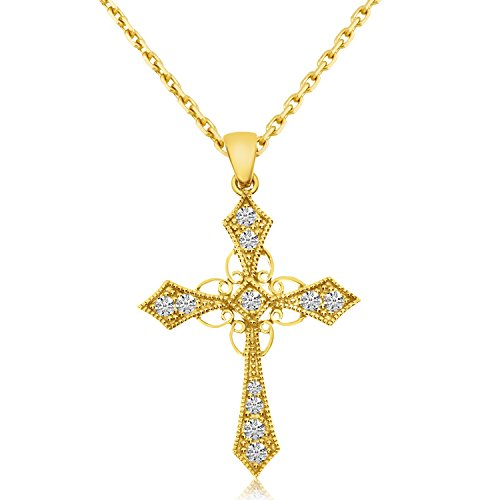 14K Yellow Gold Diamond Celtic Cross with 18' Chain