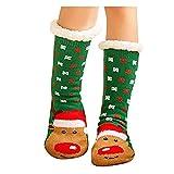 Kpcxdp Calcetines navideños Papá Noel, Calcetines Largos de Lana Coral cálida y esponjosa, Calcetines Acolchados para el Piso, algodón doméstico de Tubo Medio, 4 Pares
