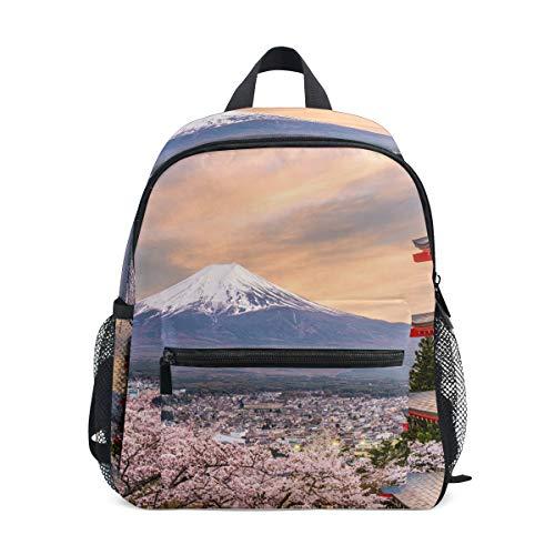 WowPrint Japanisch Sakura Fuji Druck Rucksack Kinder Kindergarten Vorschultasche Büchertasche Tasche für Kleinkinder Mädchen Jungen Unisex